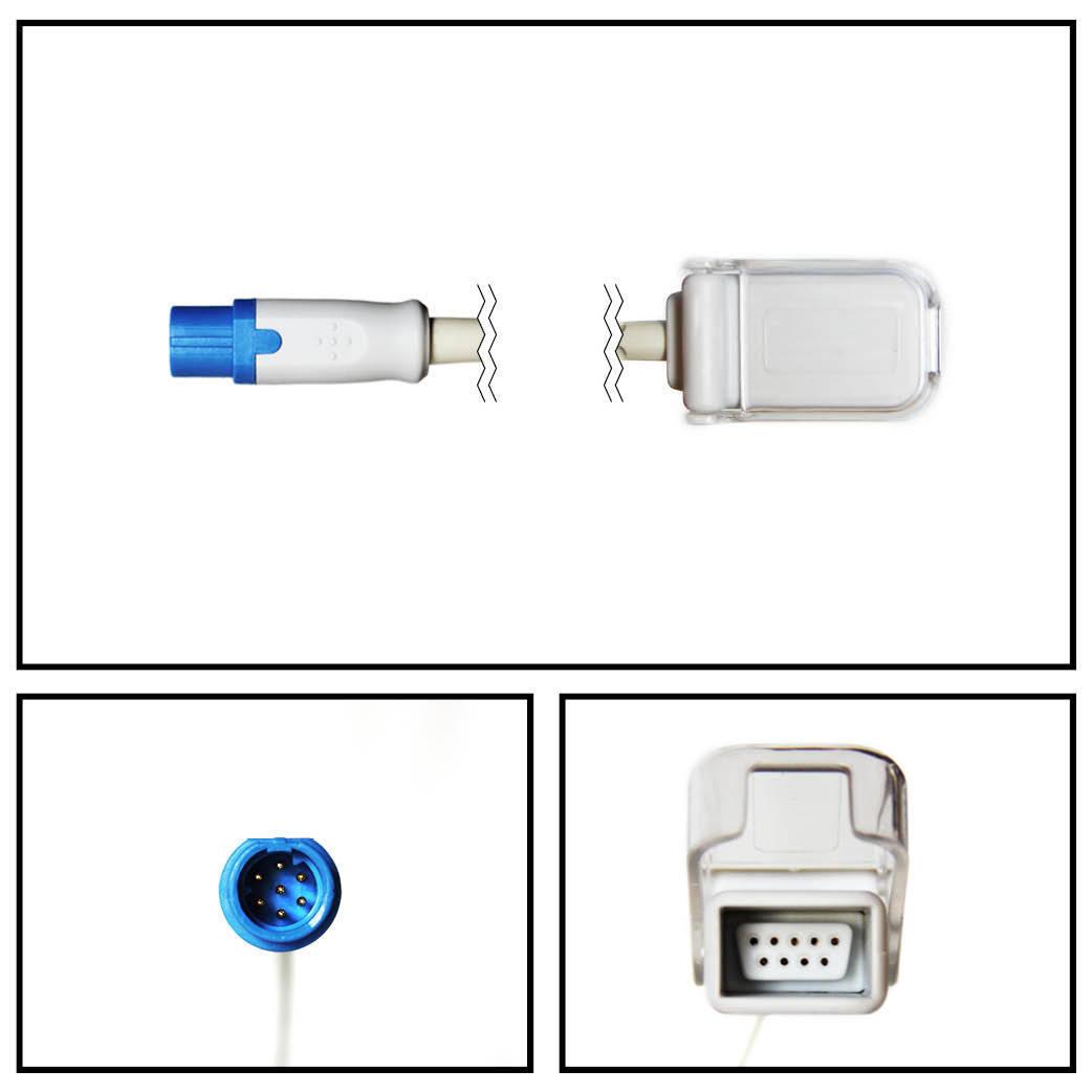 Cable extención siemens drager 4 ft. 7 pin a db9 spo2