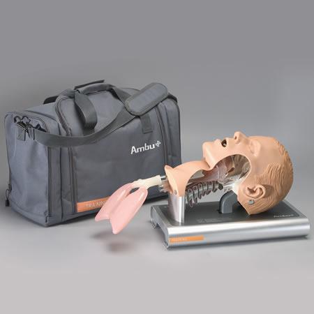 Entrenador de intubación, con estuche, bandeja de acceso y lubricante