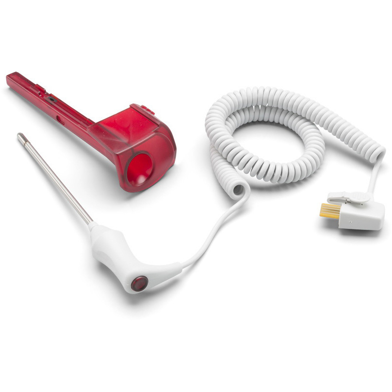 Sonda de temperatura rectal y conjunto de pozo, cable de 4 pies, rojo
