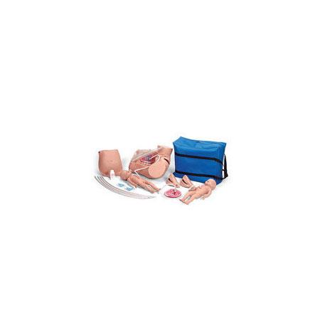 Simulador de Parto Avanzado, Piel de Vinilo, con 2 Bebés Fetales y Placentas, Cubierta de Estómago de Repuesto